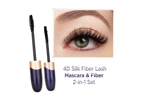 St. Mege 4D Silk Fiber Lash Mascara & Fiber 2-in-1 Set, Best for Thickening and Lengthening, Waterproof and Smudge-Proof and Hypoallergenic