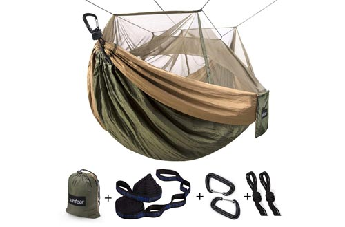Single & Double Camping Hammock with Mosquito/Bug Net, 10ft Hammock Tree Straps and Carabiners, Easy Assembly, Portable Parachute Nylon Hammock
