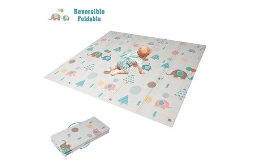 HAN-MM Baby Folding Mat Baby Playmat Foam Floor Slip Extra Large Foam Reversible Waterproof Portable Double