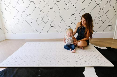 Yay Mats Stylish Extra Large Baby Play Mat. Soft, Thick, Non-Toxic Foam Covers 6 ft x 4 ft. Expandable Tiles with Edges
