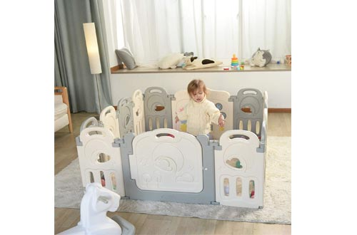 Fortella Cloud Castle Foldable Playpen, Baby Safety Play Yard with Whiteboard and Activity Wall