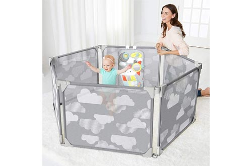 Skip Hop Baby Playpen: Expandable or Wall Mounted Play Yard with Clip-On Play Surface