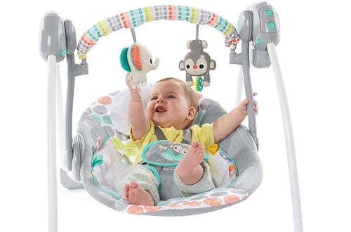 Bright Starts Whimsical Wild Portable Compact Automatic Swing with Melodies