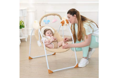 WBPINE Baby Swing Cradle, Automatic Portable Baby Rocker Swing Chair with Music for Boy and Girls