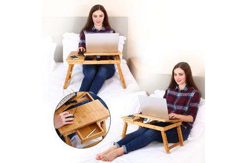 Laptop Desk Nnewvante Table Adjustable 100% Bamboo Foldable Breakfast Serving Bed Tray