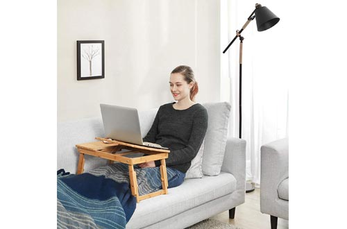 SONGMICS Laptop Desk for Bed Sofa with Adjustable Tilting Top, Breakfast Serving Tray with Folding Legs