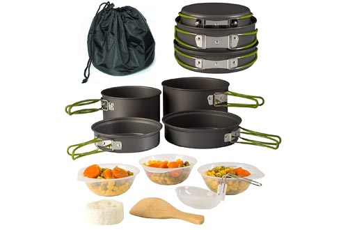 Wealers Cookware 11 Piece Outdoor Mess Kit Backpacking