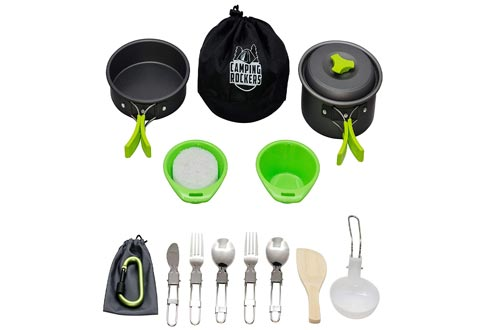 Camping Rockers 15 PCS Cookware Mess Kit