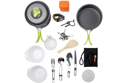 MalloMe Camping Cookware Mess kit Backpacking Gear and Hiking Outdoors Cooking Equipment Set