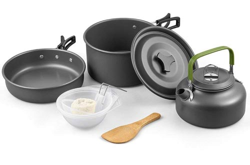 Terra Hiker Camping Cookware Nonstick, Lightweight Pots, Pans with Mesh Set Bag