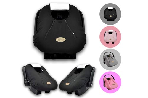 Cozy Cover Infant Seat Cover (Black) - The Industry Leading Infant Carrier Cover Trusted by Over 6 Million Moms Worldwide for Keeping Your Baby Cozy