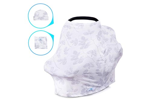 WillordMy Nursing Cover Carseat Canopy - 5 in 1 Soft and Breathable Baby Car Seat Covers - Stretchy Breastfeeding Cover for Stroller Shopping Cart