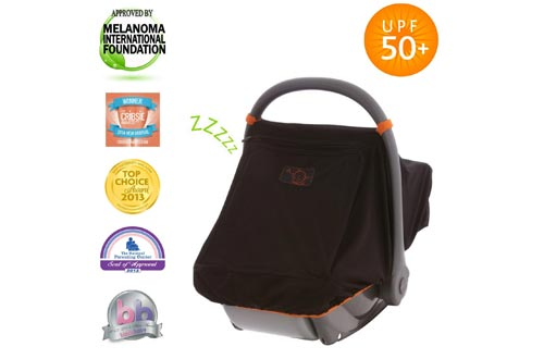 SnoozeShade Black Car Seat Canopy | Universal & Unisex Baby Mesh | Blocks 99% of UV with 360 Degree Protection