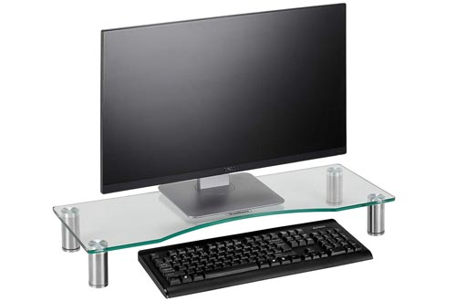 VonHaus Large Curved Glass Monitor Stand - Adjustable Height Multiple Screen Riser for PC Monitors, Computers, Laptops & TVs - 27.5 x 9.5 inches