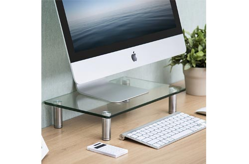 FITUEYES Computer Monitor Riser Glass Stand for Single Monitor/Laptop/Xbox One/Desktop/Flat Screen TV DT103801GC