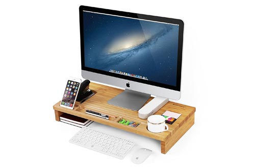 SONGMICS Monitor Stand Riser with Storage Organizer Office Computer Desk Laptop Cellphone TV Printer Stand Desktop Container Bamboo Wood Natural ULLD201