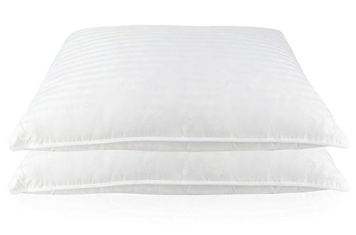 Set of two Luxury Goose Feather and Down Bed Pillows