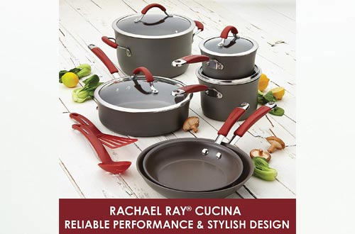 Rachael Ray 87631-T Cucina Hard Anodized Nonstick Frying Pan / Fry Pan / Hard Anodized Skillet with Helper Handle