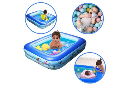 GreenItem Inflatable Baby Swimming Pool Family Swimming Center Rectangular Durable Friendly PVC Portable Outdoor Indoor Children Basin Bathtub Kids Pool Water Play Ball Pool Pit