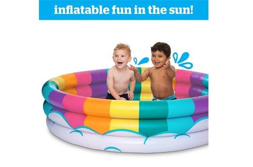BigMouth Inc Inflatable Rainbow Kiddie Pool, Durable Plastic Baby Pool, Summer Fun Swim Pool for Kids