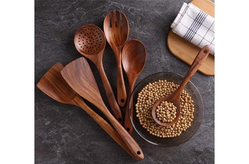 Kitchen Utensils Set, Wooden Cooking Utensil Set Non-stick Pan Kitchen Tool Wooden Cooking Spoons and Spatulas Wooden Spoons