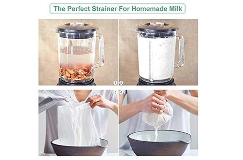 Bellamei Nut Milk Bag Reusable 3 Pack 200 Micron Nut Bags For Almond/Soy Milk Greek Yogurt Professional