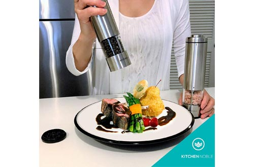 Electric Salt and Pepper Grinder Set - Battery Operated Stainless Steel Mill Shakers