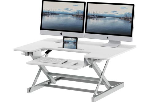 SHW 36-Inch Height Adjustable Standing Desk Sit to Stand Riser Converter Workstation