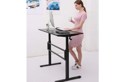 UNICOO - Crank Adjustable Height Standing Desk, Height Adjustable Sit to Stand up Desk