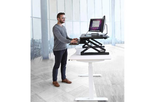 "Seville Classics AIRLIFT 36"" Gas-Spring Height Adjustable Standing Desk Converter with Keyboard Tray Phone"