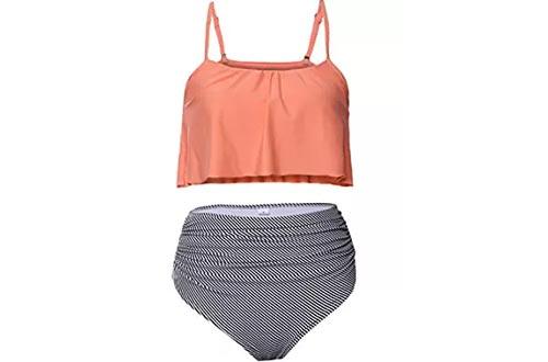 Aleumdr Women's Thin Shoulder Straps Ruched High-Waisted Bikini Swimsuit