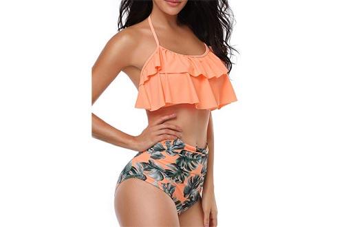 Heat Move Women Retro Flounce High Waisted Bikini Halter Neck Two Piece Swimsuits for Women