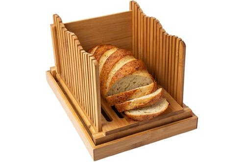 Comfify Bread Slicer Wooden Bread Cutting Board with Crumble Holder