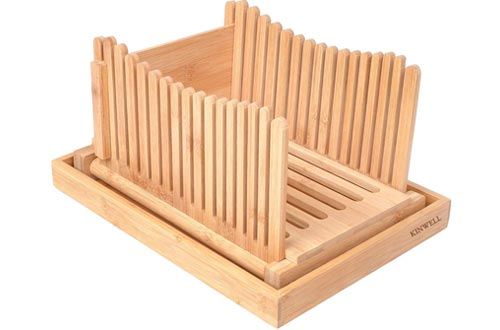 Kinwell Bread Slicers Nature Bamboo Foldable with Crumb Catcher Tray