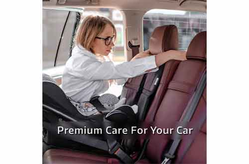 Premium Carseat Auto Cover - For Baby & Infant Safety Seat as Kick Mat - Covers your Expensive Leather Seats with Thick Pad - Waterproof and Dirt Resistant