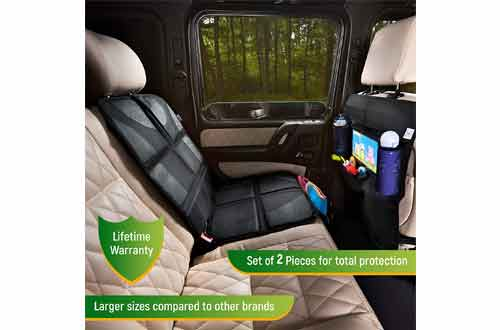 Car Seat Protector + Rear Seat Organizer For Kids - Waterproof & Stain Resistant Protective Backseat Kick Mat W/ Storage Pockets & Tablet Holder