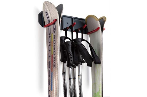 Wealers Wall Mounted Ski Rack Organizer for Skis and Poles