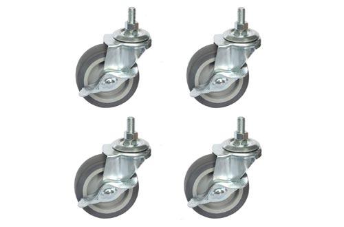 """AAGUT Caster Wheels, 3 Inch Rubber Wheels Heavy Duty, 1/2""""-13 x 1"""" Threaded Stem Mount Industrial Castors"""