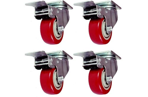 Online Best Service 4 Pack Caster Wheels Swivel Plate with Brake On Red Polyurethane Wheels