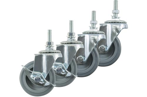 Houseables Caster Wheels, Casters, Set of 4, 3 Inch, Rubber, Heavy Duty, Threaded Stem Mount Industrial Castors, Locking Metal Swivel Wheel, Replacement For Carts, Furniture, Dolly, Workbench, Trolley