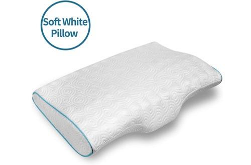 LEREKAM Cervical Pillow Memory Foam Pillow Orthopedic Sleeping Pillows Ergonomic Cervical Pillow for Neck and Shoulder Pain,Side, Back and Stomach Sleepers,Pillowcase,Massage Granule(Soft&White dot)