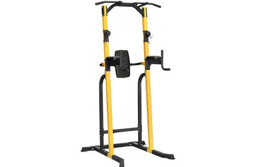 HI-MAT Adjustable Power Tower Pull Up Bar Workout Dip Station Multi-Function Push Up bar for Home Gym Strength Training Fitness Equipment