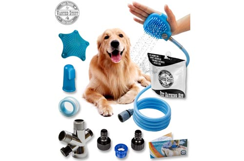 Roll over image to zoom in Wantedstuff 3 in 1 Pet Shower Kit with Free Dental Finger Brush   Dog Shower Sprayer, Adjustable Bath Glove, Clean, Massage & Remove Hair   Shower Attachment for Indoor & Outdoor Use   Pet-Friendly