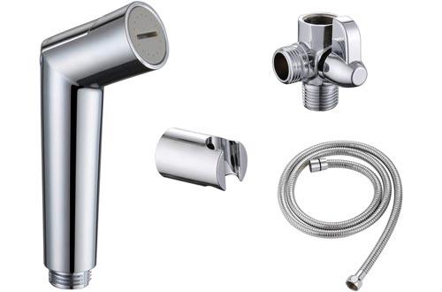 SUMERAIN Pet Shower Sprayer, Dog Shower Attachment with Solid Brass Shower Arm Diverter and Flow regulating Sprayer, 8 Feet Extra Long Hose, Chrome Finish