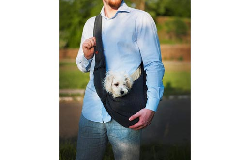 BUDDY TASTIC Pet Sling Carrier - Reversible and Hands-Free Dog Bag with Adjustable Strap and Pocket - Soft Puppy Sling for Pets up to 13 lbs