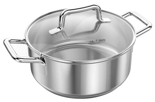 Mr Captain 18/10 Stainless Steel Dutch Oven Stockpot with Lid,Dishwasher Safe Induction Compatible Covered Sauce Pot (3qt)