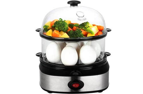 Egg Cooker, PowerDoF Multifunctional Double Layer Rapid Electric Egg Steamer Boiler with 14 Egg Capacity Auto Shut Off Feature