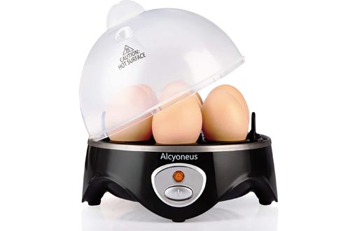 Alcyoneus Rapid Egg Cooker, Electric Egg Boiler, Noise-Free Hard Boiled Egg Cooker with Auto Shut Off & 7-Capacity, Suitable for Poached Egg, Scrambled Eggs, Omelets - Black