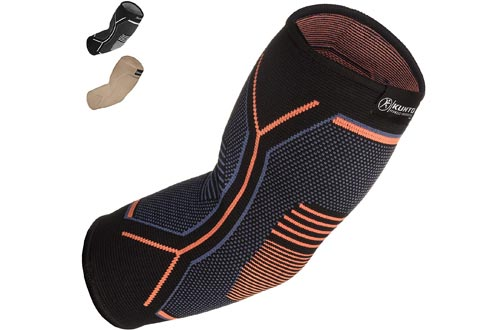 Kunto Fitness Elbow Brace Compression Support Sleeve (Shipped From USA) for Tendonitis, Tennis Elbow, Golf Elbow Treatment - Reduce Joint Pain During Any Activity!