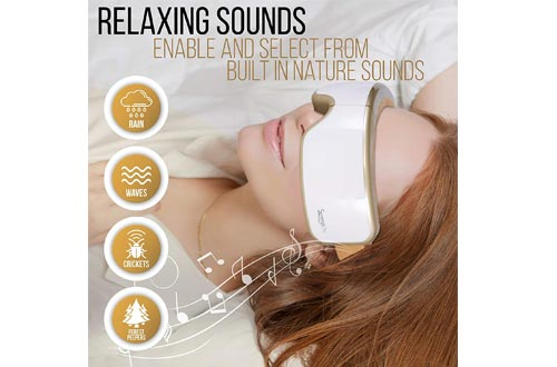 Stress Therapy Electric Eye Massager - Wireless Digital Mask Machine w/ Heat Compress, Built-in Battery & Adjustable Elastic Band - Air Pressure Vibration Massage Eye Relief